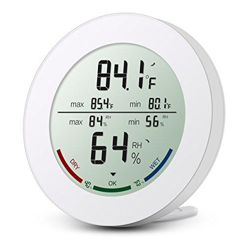 Digitales Thermo-Hygrometer, Oria Indoor Hygrometer Thermometer Mini Luftfeuchtigkeit Messen mit LCD-Bildschirm, MIN / MAX-Aufzeichnungen, Trend, °C / °F-Schalter, Komfortanzeigen, Weiß