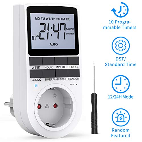 RATEL Digitale Elektronische Zeitschaltuhr Steckdose, 10 Programmierbarer Plug-In-Timer-Schalter mit Reset-Tool, LCD Display und Anti-Theft-Zufallsmodus für Beleuchtung, Lüfter usw.
